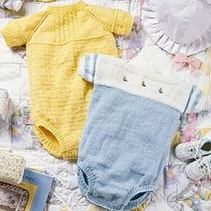 Free Knitting Pattern to knit for baby. Knit a Onesie for baby to wear in a variety of colors and sizes