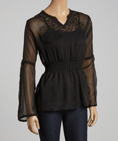 Another great find on #zulily! Black Embellished Peasant Top by Jai Creations #zulilyfinds