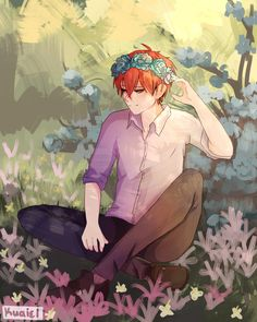 """kuaiel: """" didn't know I needed Sae with flowers until I drew it *cries* the speedpaint will be posted tomorrow or tonight! Hello Darkness Smile Friend, Mystic Messenger Unknown, Saeran Choi, Game Development Company, Anime Recommendations, Kuroko No Basket, Nalu, Art Blog, Cat Lovers"""