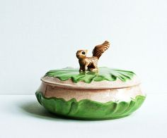 Woodland Squirrel Serving Dish- Brown and Green Bowl with Lid- Thanksgiving Decor- Fall Trends