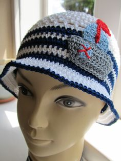 crochet hat with a sailboat 100% cotton
