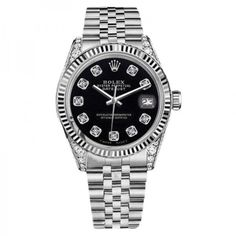 Pre-owned Rolex Datejust Black Color Dial with Diamonds Womens Watch... ($4,999) ❤ liked on Polyvore featuring jewelry, watches, pre owned jewelry, rolex watches, diamond jewelry, preowned watches and diamond wrist watch