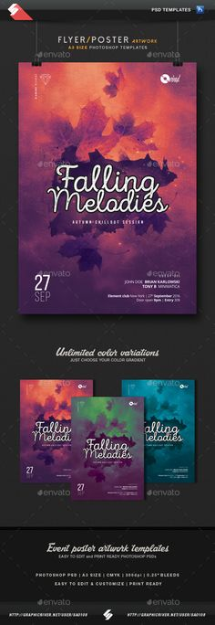 Falling Melodies - Chillout Session Flyer / Poster Template A3  — PSD Template •…