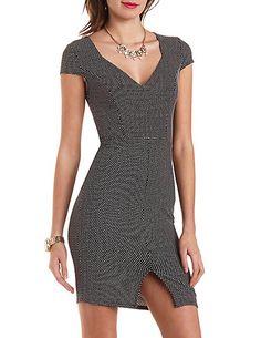 Dotted Cap Sleeve Bodycon Dress #charlotterusse #charlottelook