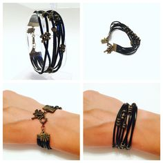 Items similar to Leather bracelet with metalic beads and charms on Etsy Etsy Shop, Beads, Trending Outfits, Unique Jewelry, Metal, Bracelets, Handmade Gifts, Leather, Shopping