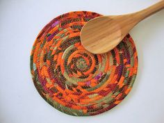 FABRIC COIL TRIVET  Orange Olive Green Trivet  by Jambearies