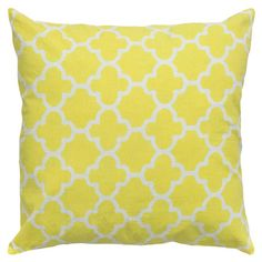 "QUATREFOILS: This product must be ordered in multiples of 2.Pillows with a quatrefoil motif.   Product: PillowConstruction Material: Cotton cover and polyester fillColor: Yellow and whiteFeatures:  Insert includedHidden zipper closureTwo-color printing details Dimensions: 18"" x 18""Cleaning and Care: Machine wash separately in cold water on gentle cycle. Lay flat to dry.  Do not bleach."