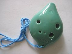 Ceramic Clayzeness Whistle Works Clay Blue ~ Ocarina ~raindrop Medium