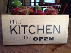 KITCHEN IS OPEN sign for sale.