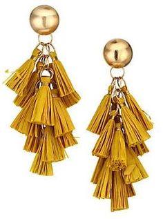 Akola Akola Vila Harper Large Yellow Raffia Tassel Goldtone Earrings