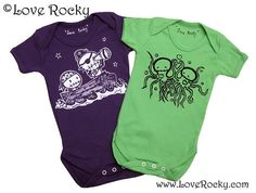 6 mths Purple  Green Zombie Pirate Octopus Baby Onsies set of two on Etsy, £17.00
