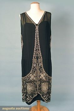 French Beaded Dress, 1920s, via Augusta Auctions.