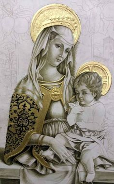 """Cani - """"Nedlands Virgin with Child"""" - 2014 - work in progress, tonal monochromatic under-painting with verdaccio Religious Images, Religious Icons, Religious Art, Blessed Mother Mary, Blessed Virgin Mary, Catholic Art, Catholic Saints, Images Of Mary, Mama Mary"""