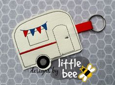 camper key fob embroidery applique design by designsbylittlebee