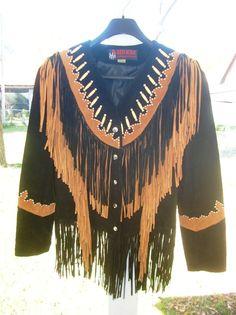 Suede Jacket Fringe Beads Native American Style | eBay
