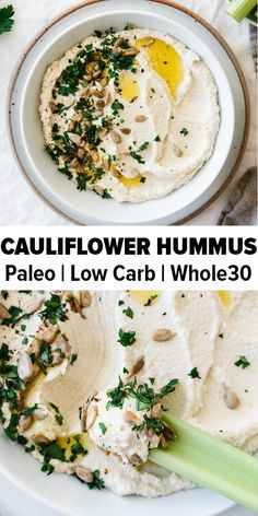 Roasted cauliflower hummus is a delicious chickpea-free version of hummus that's low-carb, keto, paleo and Whole30 friendly. It's a delicious healthy appetizer recipe. #hummus #lowcarb #keto #whole30recipes