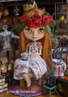 Little Miss June. Summertime Tea Dress, Striped Leggings, Tiny Bird Choker And Rose Crown For Blythe Doll