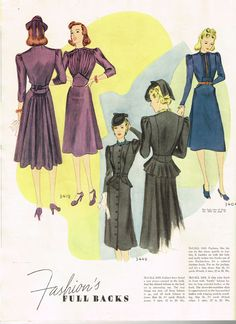 McCall Fashion Book, Winter 1939-1940 featuring McCall 3419, 3442 and 3404