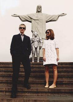 "Jenna, Peter, Jesus, and a Cyberman {Rio} - I can hear Amy now, ""I dressed for Rio!"" < Peter 'I own the world' Capaldi :D"