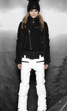 Women's ski wear | Winter fashion | Black ski jacket | White ski pants... More