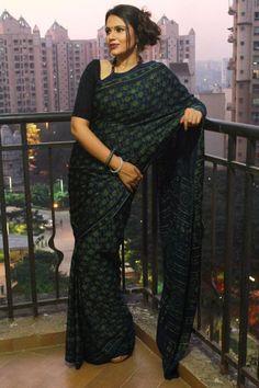Buy Modal Silk Ajrakh Saree