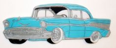 Perfect gift for the #mechanic! #Handmade 1957 Chevrolet, vintage Automobile, wood wall art on #Zibbet