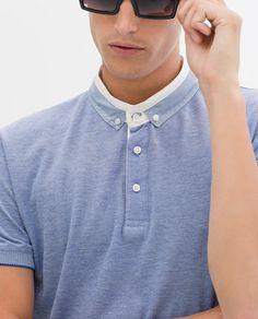 ZARA - HOMBRE - POLO PIQUÉ OXFORD Mens Polo T Shirts, Polo Tees, Boys T Shirts, Mens Tees, Men's Polo, Polo Design, Polo Shirt Design, Smart Men, Casual Wear For Men
