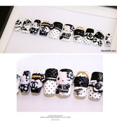 Hello Kitty Black and white Chanel nails - two of my faves in one!