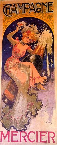 Vintage Mercier Champagne CANVAS art print Brand New French Paris retro advert | eBay