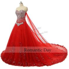 Princess Red Ball Gown Wedding Dress Bling Sweetheart Bridal Dresses... ($255) ❤ liked on Polyvore featuring dresses