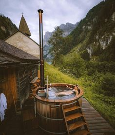 Swiss Chalet complete with wood-stove heated hot tub. Spa Design, House Design, Outdoor Tub, Outdoor Baths, A Frame Cabin, A Frame House, Deco House, Switzerland Hotels, Swiss Switzerland