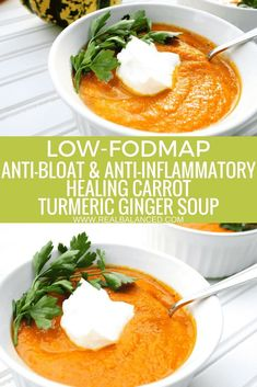 This Low-FODMAP Anti-Bloat and Anti-Inflammatory Healing Carrot Turmeric Ginger Soup is a delicious wholesome and warming soup that will sooth your stomach and keep you satiated. This recipe is low-FODMAP paleo compliant gluten-free grain-free dair Dieta Fodmap, Low Fodmap Foods, Low Carb, Fodmap Recipes, Paleo Recipes, Soup Recipes, Potato Recipes, Vegetarian, Vegetarian Recipes