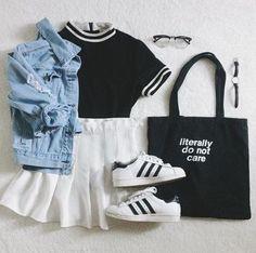 49 Cute Summer Outfits   Fashion Inspiration  @cloverade on Instagram -- denim jacket, white pleated skater skirt, black shirt, black totebag, adidas.