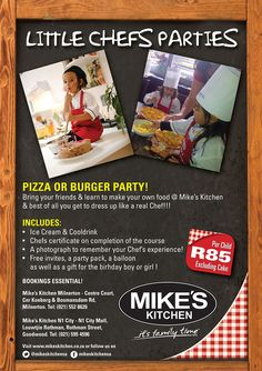 Mike's Kitchen Milnerton & City Little Chefs Parties Burger Party, Pizza Party, Ninja Turtle Pizza, Chef Party, Little Chef, Make Your Own, How To Make, Chefs, Ice Cream