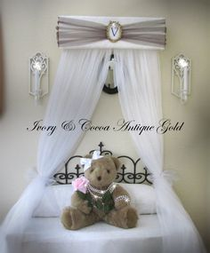 Upholstered Bed Canopy Crown Princess Ivory brown gold Personalized FREE SaLe on Etsy, $49.99