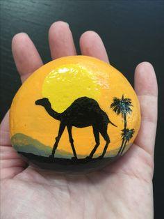 #desert #camel #sun #silhouette #paintedrock #rockpainting #kellyrocks