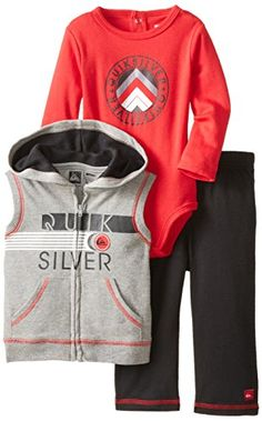 9fc93ae9d3e51 Amazon.com  Quiksilver Baby Boys  Gray Sleeveless Hooded Vest with Body and  Pants, Gray, 12 Months  Clothing