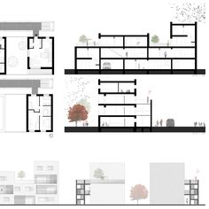 ISSUU - architecture portfolio by Tereza Čermáková; floor plans on top, elevations on bottom and grounded