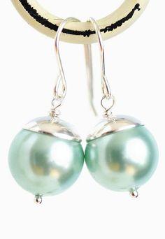 Aqua Blue Pearl Earrings Sterling Silver