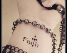 Faith cross tattoo religious tattoo by SharonHArtDesigns Fake Tattoos, Word Tattoos, Trendy Tattoos, Body Art Tattoos, Small Tattoos, Music Tattoos, Tatoos, Crown Tattoos, Tattoo Wort
