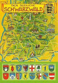 Black Forest map, Germany. Schoen.