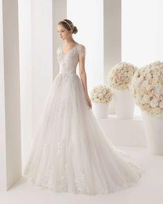 Dreamy V Neck Illusion Back Design Short Sleeve Sashes A Line Chapel Train Delicate Appliqued Bodice Tulle Wedding Dress Aro0052 - https://blog.oncewedding.com/2016/01/01/dreamy-v-neck-illusion-back-design-short-sleeve-sashes-a-line-chapel-train-delicate-appliqued-bodice-tulle-wedding-dress-aro0052/