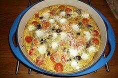 """Clafoutis"" met cherrytomaat, mozzarella en kalamataolijven. 24 jan. 2015"