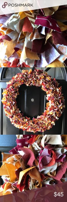 """Fall Rag Wreath 18"""" handmade door/home decor 18"""" handmade wreath colors:mustard, orange, burgundy with accents of gold and cream with prints of pumpkins, chevron and arrows would be a great addition to any home or office for fall and Thanksgiving! Other"""