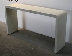 Bleached shagreen waterfall console table
