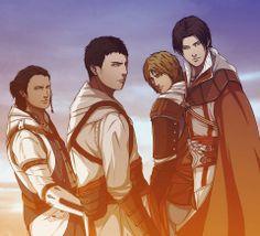 Ratonhnhaké:ton (Connor Kenway), Altaïr Ibn-La'Ahad, Edward James Kenway, Ezio Auditore | Assassin's Creed