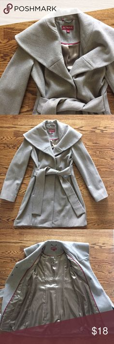 taupe pea coat taupe or tan colored pea coat | fully lined | from pockets | button closures | collar detail | attached tie straps | super cute jacket but unfortunately it doesn't get cold enough here to wear it as often as I'd like | worn once for a few hours and in perfect condition Merona Jackets & Coats