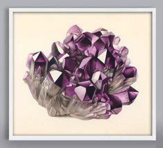Amethyst Purple Quartz Art Print, Gem and Mineral Rock Art, Mineral Print, Antique Rock Art Print, C Snake Art, Purple Quartz, Framed Prints, Art Prints, Affordable Art, Antique Prints, Rocks And Minerals, Rock Art, Fine Art Paper