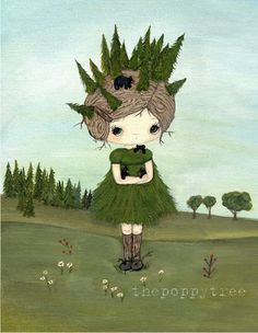 Bear Print Forest Girl Tree Whimsical Wall by thepoppytree on Etsy, $18.00