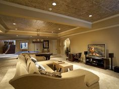 Basement Splurge vs. Save: Get tips for where to invest money and how to cut remodeling costs >> http://www.hgtvremodels.com/interiors/basement-remodel-splurge-vs-save/index.html?soc=pinterest#